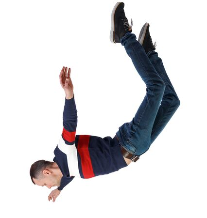 Side view of man in zero gravity or a fall. guy is flying, falling or floating in the air. Side view people collection. side view of person. Isolated over white background.