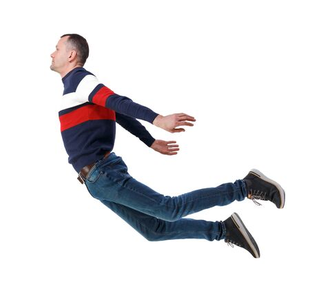 Side view of man in zero gravity or a fall. guy is flying, falling or floating in the air. Side view people collection.