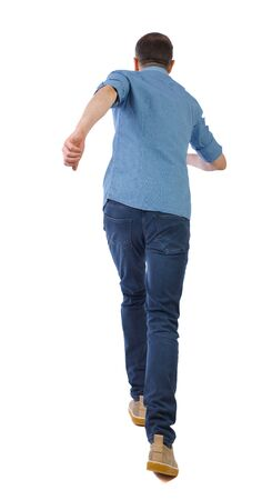 back view of running man. backside view of person. Rear view people collection. Isolated over white background.