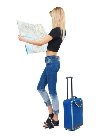 Back view of a woman with a map and a suitcase. backside view of person. Rear view people collection. Isolated over white background.