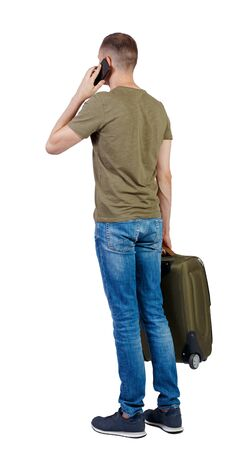 Back view of business man with suitcase talking on the phone. Standing young girl. Rear view people collection.  backside view of person. Isolated over white background.
