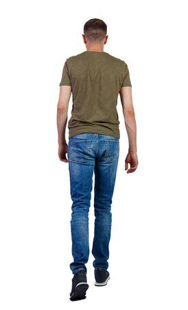 Vue arrière du bel homme. jeune homme marchant. Collection de personnes vue arrière. vue arrière de la personne. Isolé sur fond blanc.