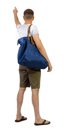 Back view of man in shorts with bag pointing. Rear view people collection. backside view of person. Isolated over white background. Stock Photo - 129826160