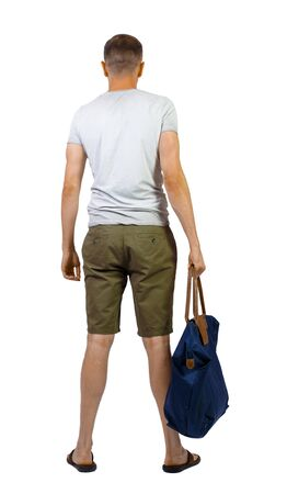 Back view of man in shorts with bag. Rear view people collection. backside view of person. Isolated over white background.