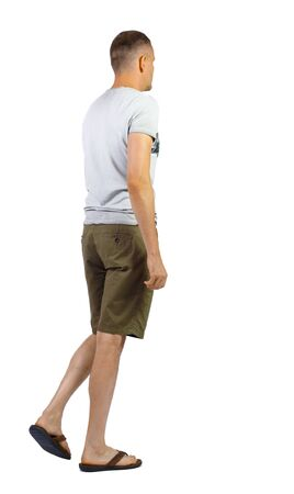 Back view of going handsome man in shorts. walking young guy .backside view of person. Isolated over white background.