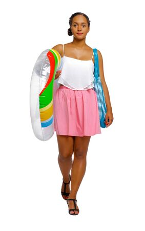 Side view of an African-American with a beach bag that goes to the side. frontside view of person. Isolated over white background. Imagens