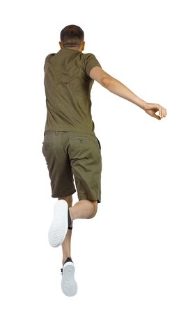Back view of man in zero gravity or a fall. guy is flying, falling or floating in the air. Side view people collection. side view of person. Isolated over white background. The guy in the shorts hung in zero gravity.