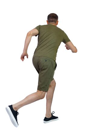 back view of running man in shorts. backside view of person. Rear view people collection. Isolated over white background. A guy in shorts and sneakers quickly runs past.