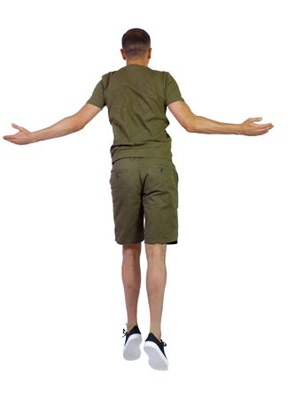 Back view of man in zero gravity or a fall. guy is flying, falling or floating in the air. Side view people collection. side view of person. Isolated over white background. A guy in shorts is hanging in the air with his arms outstretched to the sides.