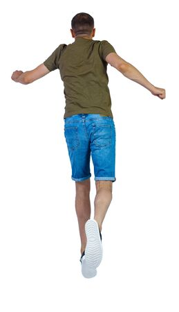 Back view of man in zero gravity or a fall. guy is flying, falling or floating in the air. Side view people collection. side view of person. Isolated over white background.
