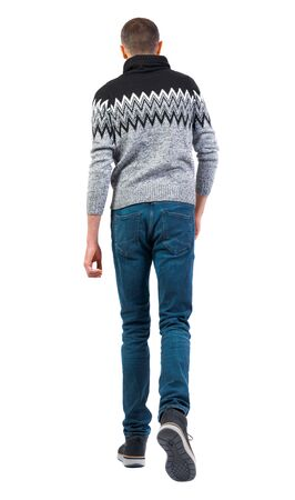 Back view of going handsome man in winter sweater. walking young guy . Rear view people collection. backside view of person. Isolated over white background Imagens