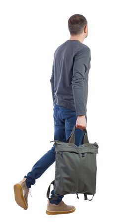 Side view of walking man with green bag. backside view of person. Rear view people collection. Isolated over white background.