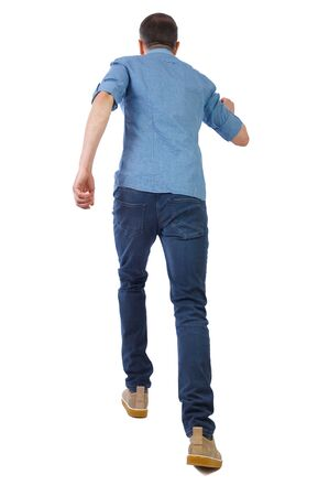 back view of running  man. backside view of person.  Rear view people collection. Isolated over white background. A man in a short sleeve shirt quickly runs off into the distance.