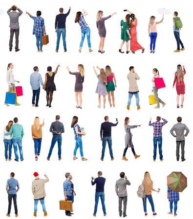 """Kolekcja """"Ludzie z tyłu"""". Zestaw ludzi widok z tyłu. widok z tyłu osoby. Pojedynczo na białym tle."""