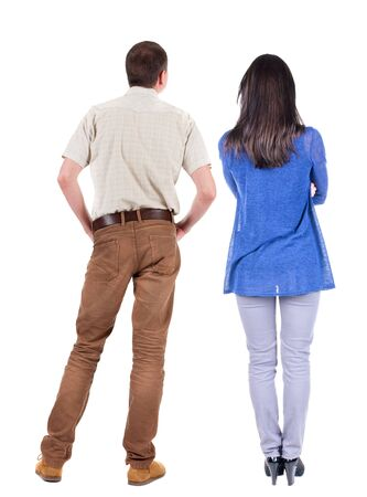 Back view of couple. beautiful friendly girl and guy together. Rear view people collection. backside view of person. Isolated over white background. Imagens