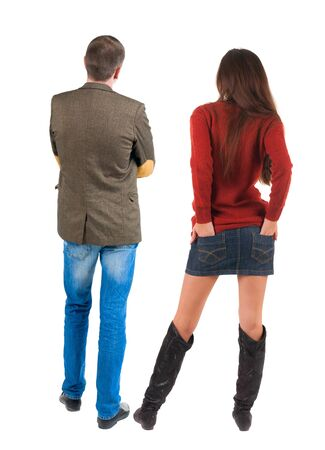 Back view of couple. beautiful friendly girl and guy together. Rear view people collection. backside view of person. Isolated over white background.