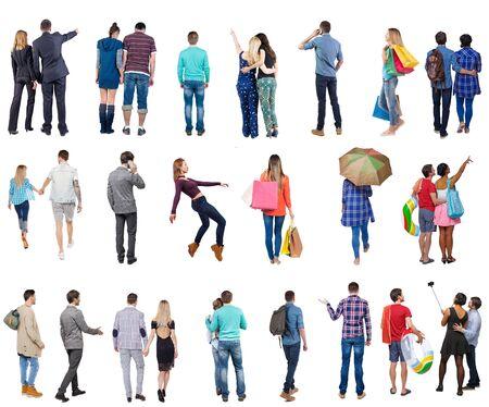 """Collection """" Personnes vue de dos """". Ensemble de personnes vue arrière. vue arrière de la personne. Isolé sur fond blanc. Banque d'images"""
