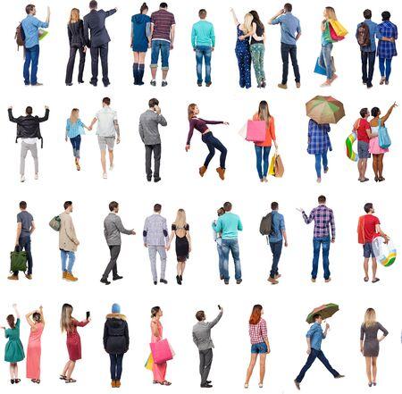 """Colección """"Vista posterior de la gente"""". Conjunto de personas de vista trasera. vista trasera de la persona. Aislado sobre fondo blanco."""