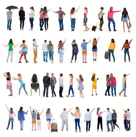 Collection Back view people. Rear view people set. backside view of person. Isolated over white background. many people standing with their backs. Imagens