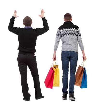 back view of two man with shopping bags. backside view of person. Rear view people collection. Isolated over white background. 스톡 콘텐츠