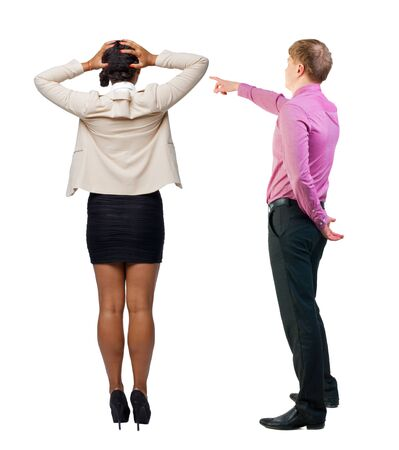Back view of business man and business woman in suit pointing. Business team. Rear view people collection. backside view of person. Isolated over white background. Banque d'images
