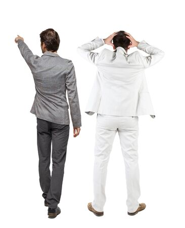 Back view of  two business men in suit pointing. Rear view people collection. backside view of person. Isolated over white background. 版權商用圖片