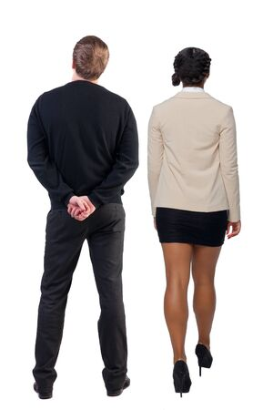 Back view of business woman and business man in suit. Business team. Rear view people collection. backside view of person. Isolated over white background. 版權商用圖片