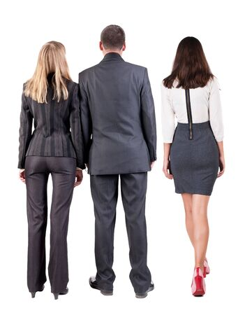 Back view group business people in suit. Business team. Rear view people collection. backside view of person. Isolated over white background.