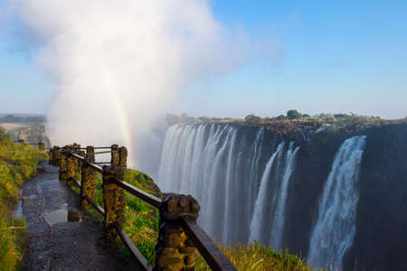 view of Victoria Falls at Zambia side, one of most iconic African natural landmarks