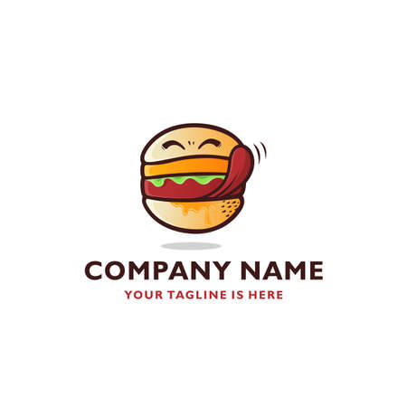 SMILING DELICIOUS BURGER SYMBOL VECTOR ICON LOGO TEMPLATE Illustration