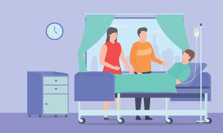 visit friend sick on bed hospital room with modern flat style - vector illustration