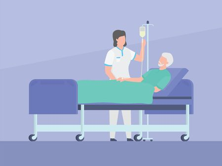 nurse check patients infuse with old man lying on bed with simple flat style vector graphic