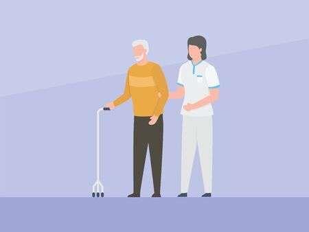 nurse assistant help old man or elder to walk with simple flat concept vector graphic