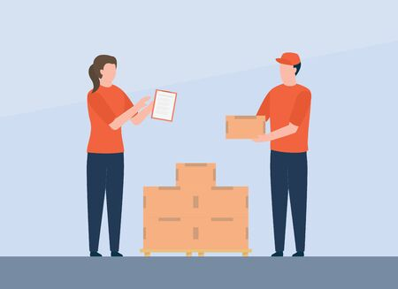worker courier check goods delivery service package with stack cardboard vector illustration Foto de archivo - 138266321