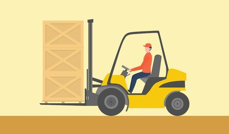 forklift goods container on the warehouse with man driving the yellow fork lift vector illustration