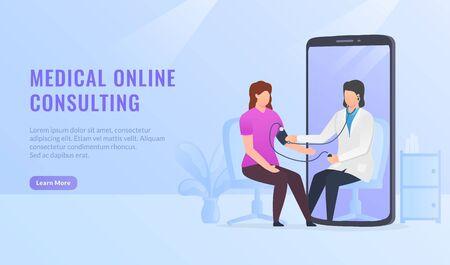 Online medical healthcare consultation for website template or landing homepage design vector