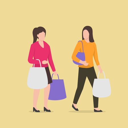 two woman shopping walking and discuss each other with shopping bag vector