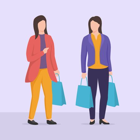 two woman shopping discussion with shopping bag with casual clothes vector