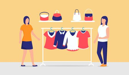 two woman choose clothes to wear in wardrobe woman fashion style vector