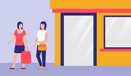 two foman walking exit leave after shopping holding shop bag discussion talking vector