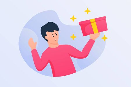 man received shipping box ordered with happy faces and modern flat style vector
