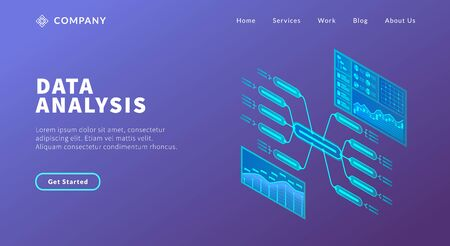 data analysis concept with various model of graph and chart big data for website template or landing homepage vector