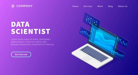 data scientist concept with laptop and some graph and chart to analyze for website template or landing homepage vector