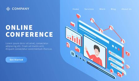 online video conference with man teaching lesson course for website template or landing homepage vector