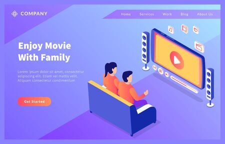 watching online movie home entertainment with couple man and woman with isometric flat style vector