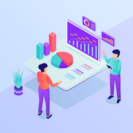 business presentation concept with man and woman analysis data graph and chart with isometric style vector Illustration