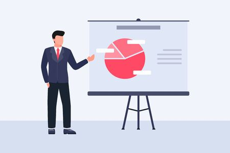 business presentation concept with man give presentation with data graph analysis on white board vector