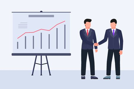 business deal agreement hand shake concept with two business man and graph and chart vector Illustration