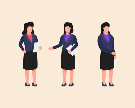 business woman set collection with people holding paper file document with flat style vector 일러스트