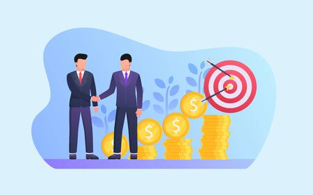 business deal partners for long term investment with gold coin and money growth vector Vetores